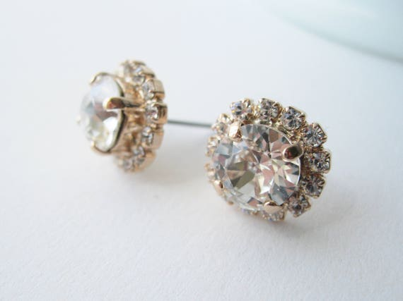 42bc537c1de0 Halo Stud Earrings Rose Gold and Crystal Swarovski Elements