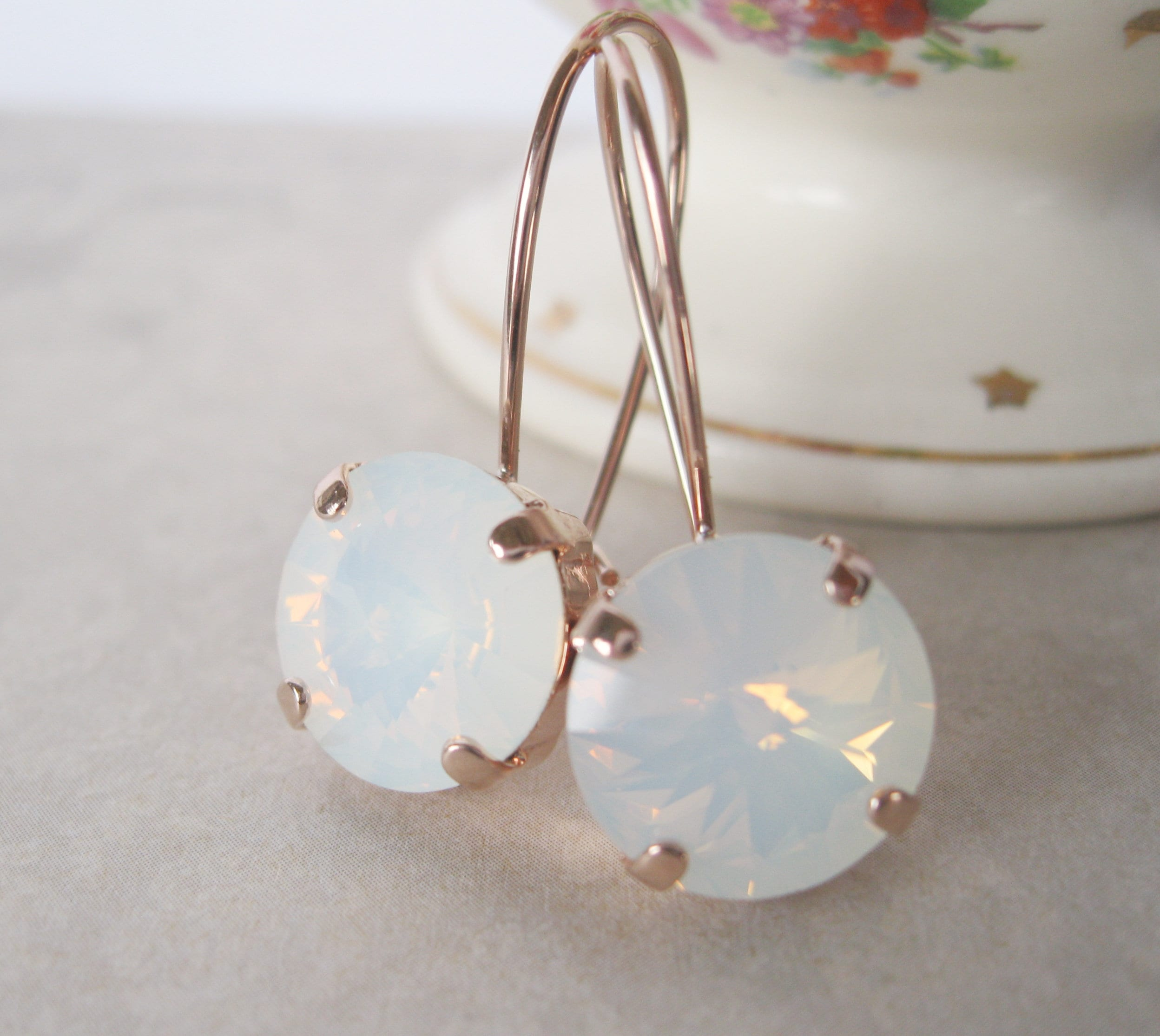 2e6adf91e7828 White Opal crystal drop earrings set in Rose Gold plated settings ...