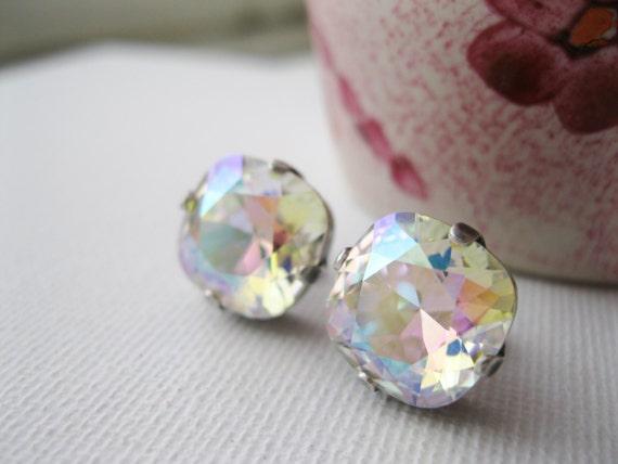 Aurora Borealis rhinestone post earrings, vintage style studs, Hollywood Glam, wedding bridal jewellery, rainbow earrings, XL.