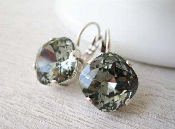 Grey Bridesmaid earrings black diamond crystal wedding jewelry antique silver settings with leverbacks.