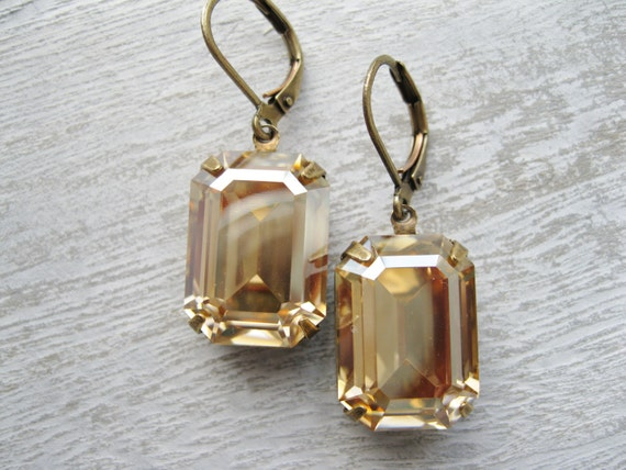Art Deco Champagne Earrings New Year's Eve Bridesmaid Jewellery Vintage Wedding Light Topaz and Antique Brass Old Hollywood Glam