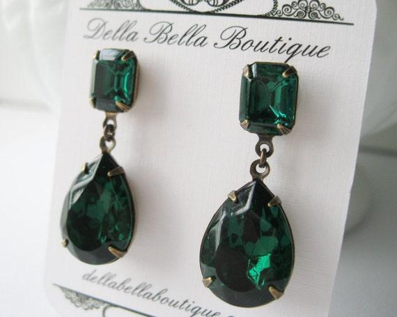 Emerald Green Rhinestone Drop Earrings Old Hollywood Jewelry Vintage Swarovski Crystals Post Backs Christmas Wedding Earrings Antique Brass
