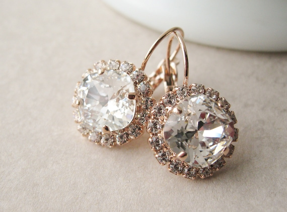 Rose Gold and Crystal Halo Bridesmaid Earrings Vintage Style Wedding Jewelry Swarovski Crystals Art Deco Style Wedding
