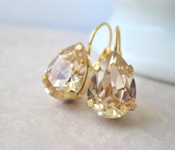 "Gold Teardrop Bridesmaid Earrings Light Topaz Swarovski Crystal ""Light Silk"" Art Deco Style Bridal Jewelry Leverbacks Choose your Metal"