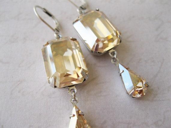 Champagne and Silver Rhinestone Earrings, Art Deco, New Year's Eve Wedding, Light Topaz Bridal Jewelry, Swarovski Elements Golden Shadow