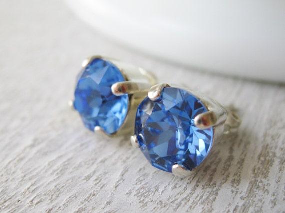 Sapphire Blue Rhinestone Stud Earrings Bright Blue Post Earrings Swarovski Elements Sapphire Bridesmaid Earrings SEPTEMBER Birthstone.