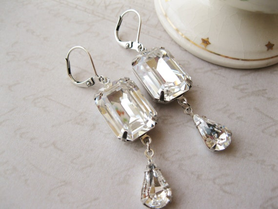 Art Deco Style Crystal Drop Earrings Vintage Style Rhinestone Wedding Earrings Old Hollywood Glam Statement Jewellery Swarovski Elements