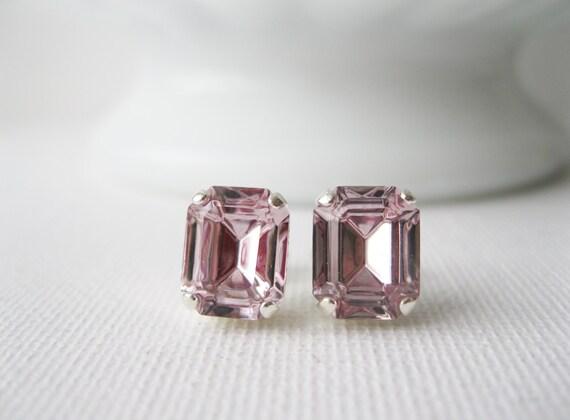 Light Purple Stud Earrings, Rhinestone Post, Purple Bridesmaid Jewellery, Spring Wedding, Vintage Swarovski Elements, Silver Plated, Square