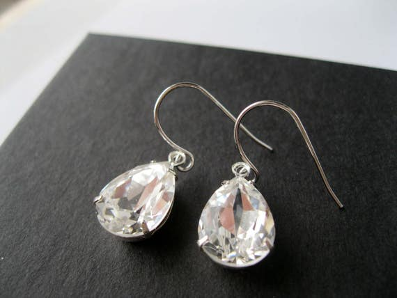 Silver Plated Crystal Teardrop Bridesmaid Earrings Art Deco Wedding Jewelry Bridesmaid Earrings Vintage Style Bridal Jewelry Nickel Free