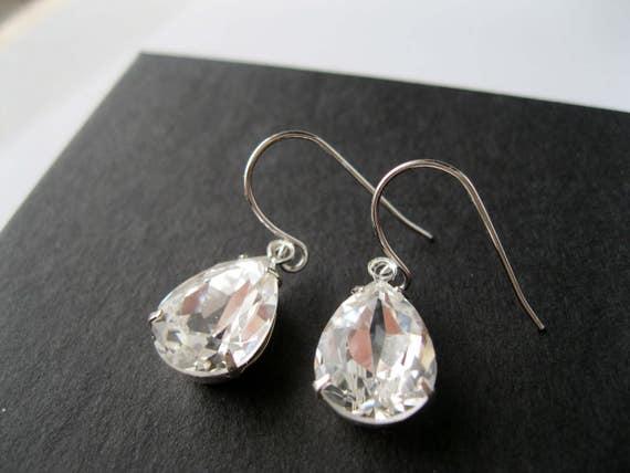 Silver Plated Crystal Teardrop Bridesmaid Earrings Art Deco Wedding Jewelry Bridesmaid Earrings Vintage Style Bridal Jewelry Nickel Free