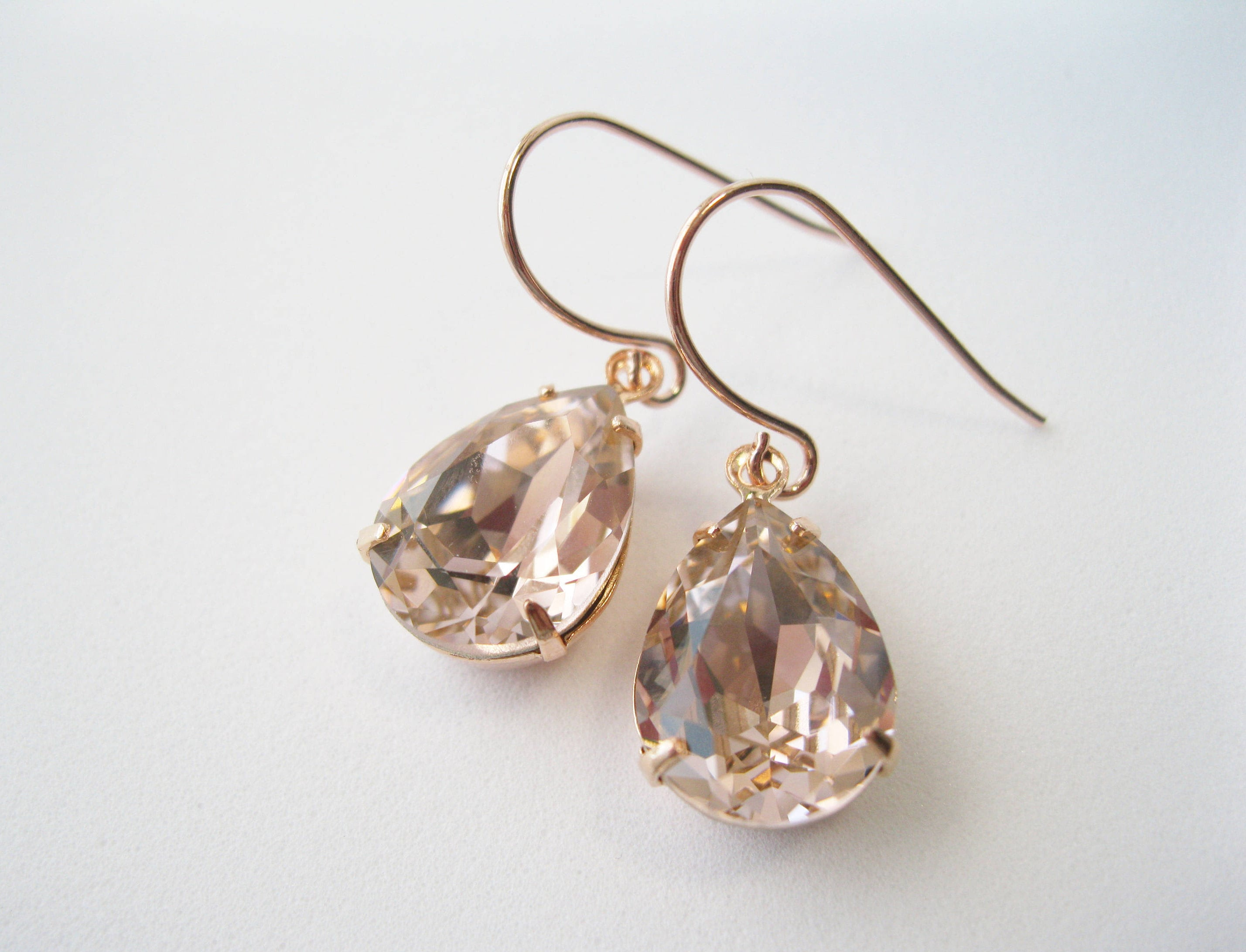 9d07a4a42 Blush and Rose Gold Crystal Bridesmaid Earrings Teardrop Dangles Art Deco  Vintage Style Blush Wedding Jewelry Choice of Metal
