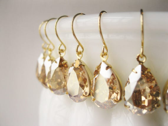 SET of 5 pairs Champagne Gold Bridesmaid Earrings Vintage Style Teardrop Champagne Wedding Swarovski Elements Golden Shadow New Years Eve