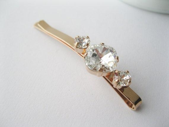 Crystal Rose Gold Hair Pin Bridal Hair Accessories Crystal Wedding Barrette Vintage Style Art Deco Wedding Rhinestone Barrette