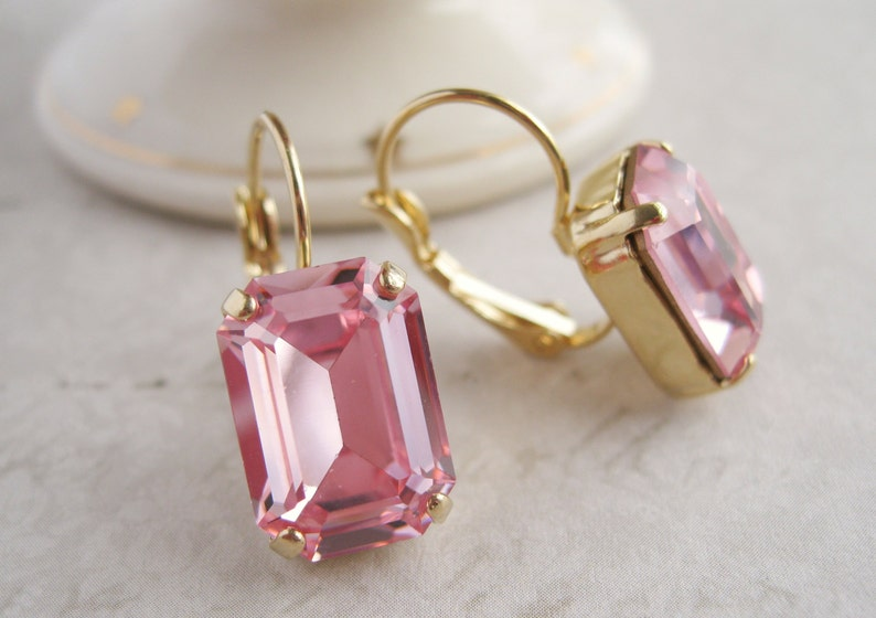 76d814c462262 Princess Pink Crystal Drop Earrings set in Gold Plated Settings Vintage  Emerald Cut Swarovski Light Pink Crystals Art Deco Style