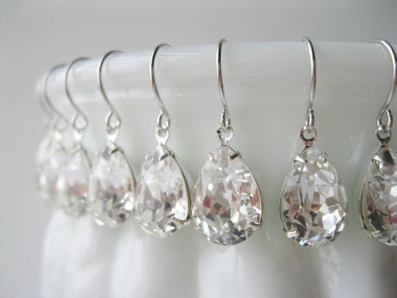 Set of 8 pairs Silver Crystal Teardrop Bridesmaid Earrings Bridesmaid Sets Art Deco Wedding Jewelry Vintage Style Bridal Jewelry Nickel Free