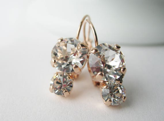 Bridesmaid Earrings Rose Gold and Crystal Simple Modern Wedding Jewelry Crystal Drop Earrings Bridal Jewellery Swarovski Elements