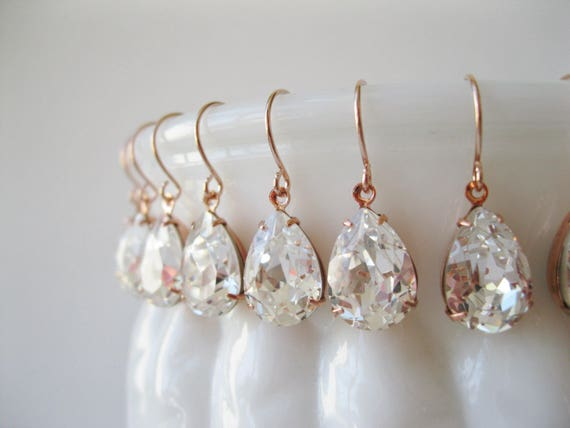 Set of 12 pairs Rose Gold Crystal Bridesmaid Earrings Teardrop Earrings Bridesmaid Sets Vintage Art Deco Wedding Bridal Jewelry Nickel Free