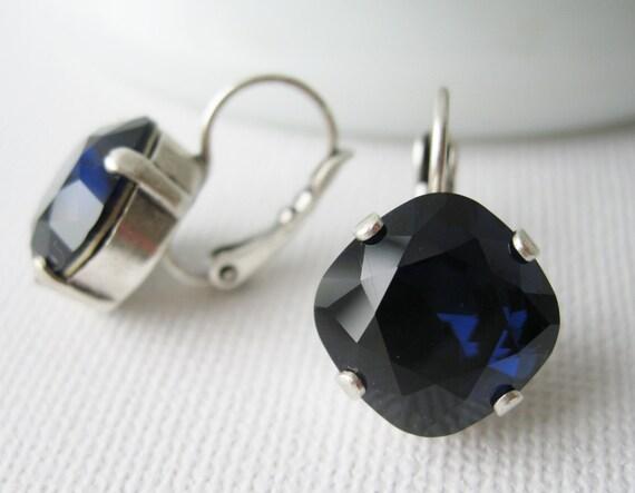Indigo Blue Bridesmaid Earrings Dark Blue Drop Earrings Vintage Style Wedding Jewellery Antique Silver Lever backs Swarovski Elements