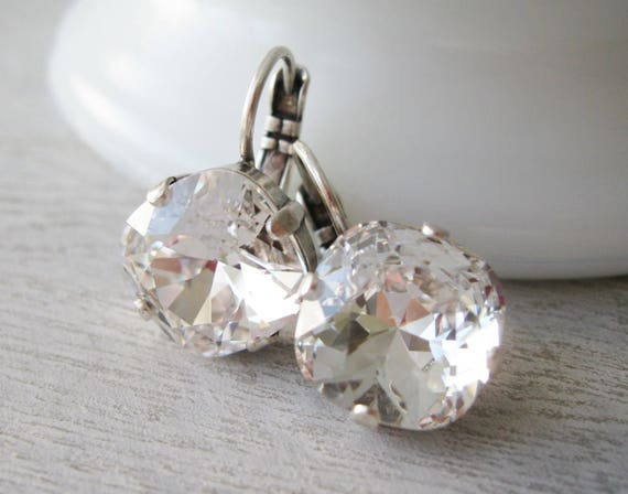 Set of 5 Crystal Bridesmaid Earrings Clear Rhinestone Earrings Crystal Wedding Jewelry Bridal Sets Cushion Cut Swarovski Elements