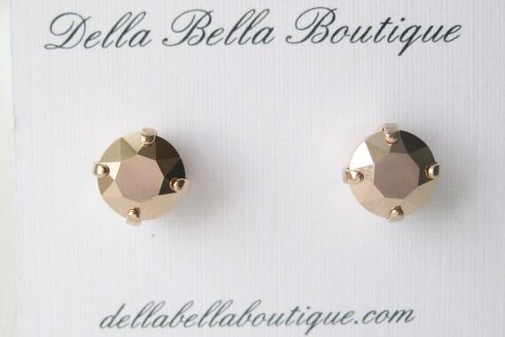 Rose Gold Stud Earrings Metallic Stud Earrings Modern Minimalist Jewellery Bridesmaid Earrings Rose Gold Wedding Swarovski Elements