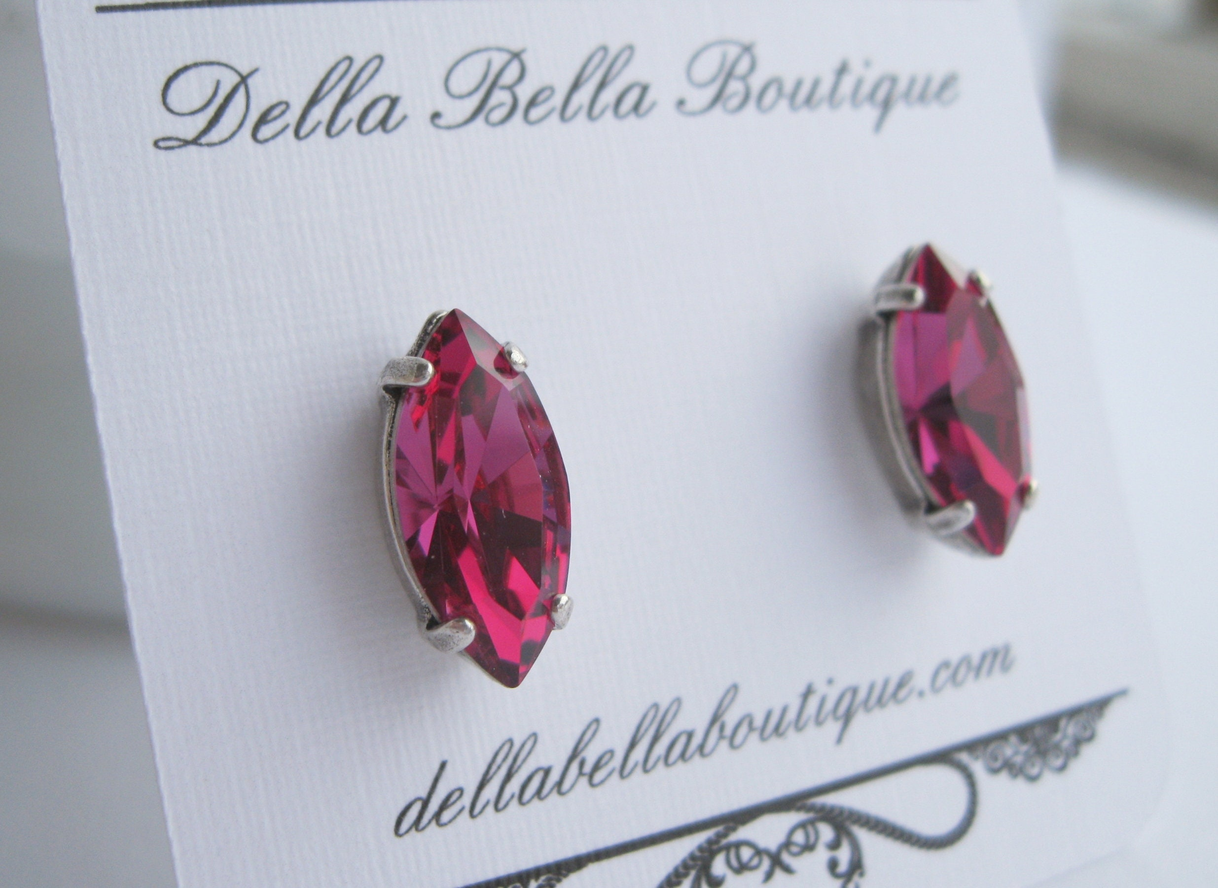 c61e6cb27 Fuchsia Pink and Antique Silver Stud Earrings Swarovski Crystals Navette  Bridesmaid Jewelry Choice of Metal Finish