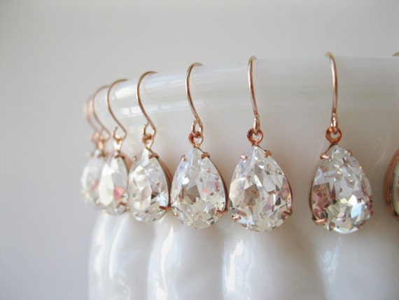 Set of 6 pairs Bridesmaid Earrings Crystal Rose Gold Plated Teardrop Earrings Bridesmaid Jewelry Vintage Style Wedding Bridal Nickel Free
