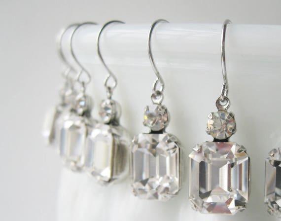 Crystal Bridesmaid Earrings SET OF 4 PAIRS Silver Plated Crystal Wedding Swarovski Elements Bridal Gift Set Art Deco Rhinestone Earrings
