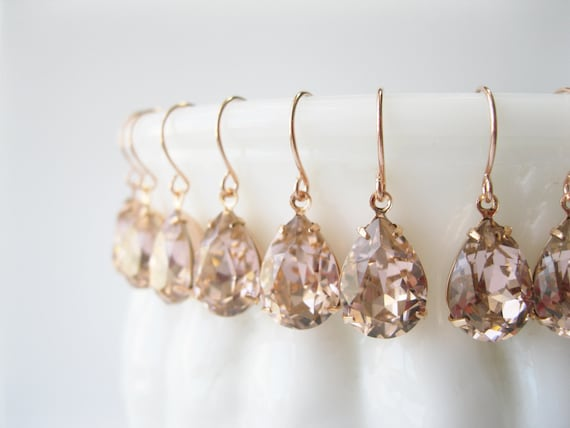 Set of 6 pairs Blush and Rose Gold Crystal Bridesmaid Earrings Teardrop Dangles Art Deco Vintage Style Blush Wedding Jewelry Choice of Metal