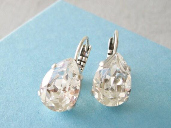 Crystal Teardrop Earrings, Bridesmaid Earrings, Crystal Wedding Jewelry, Antique Silver, Lever back, Bridal Sets, Vintage Style