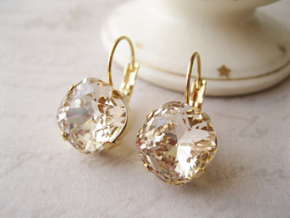Light Topaz Rhinestone Earrings Light Peach Bridesmaid Earrings Gold Plated Wedding Jewelry Bridal Sets Vintage Style Old Hollywood Glamour