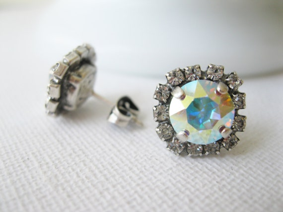 Aurora Borealis Crystal Stud Earrings Rainbow Jewelry Bridesmaid Earrings Swarovski Elements Choose your Metal
