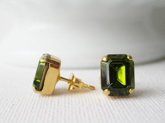Olive Green Stud Earrings Rhinestone Studs Fall / Autumn Wedding Jewellery Vintage Swarovski Elements Gold Plated