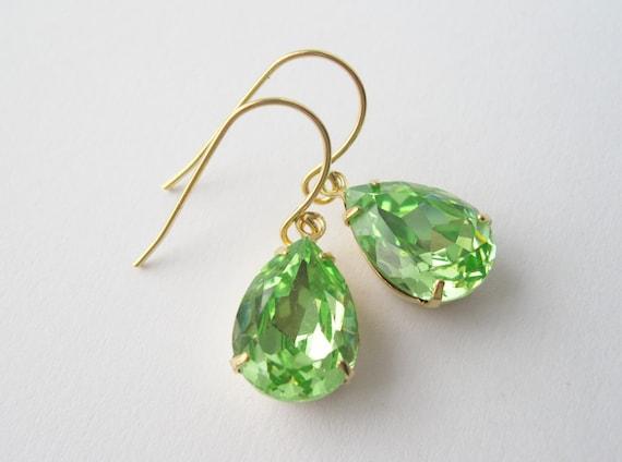 Green and Gold Crystal Drop Earrings Peridot Bridesmaid Jewelry Green Wedding Spring Summer Swarovski Elements Prom Jewellery