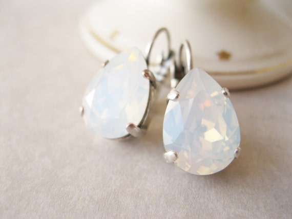 White Opal Earrings, Teardrop Earrings, Wedding Jewelry, Bridal Sets, Rhinestone Earrings, Swarovski Elements, Antique Silver