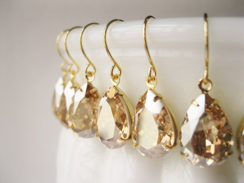 3ccd1b77f20a5 Set of 6 Pairs Gold Champagne Bridesmaid Earrings Vintage Style Crystal  Teardrop Bridal Champagne Wedding Swarovski Elements New Years Eve
