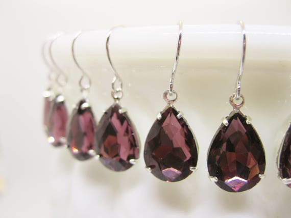 5 Pairs Burgundy Bridesmaid Earrings Garnet Rhinestone Drop Earrings Bridal Sets Vintage Style Wedding Jewelry Choose your Metal