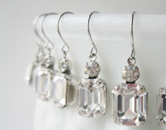 Crystal Bridesmaid Earrings SET OF 6 PAIRS Silver Plated Crystal Wedding Swarovski Elements Bridal Gift Set Art Deco Rhinestone Earrings