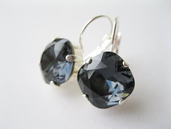 Dark Gray Bridesmaid Earrings Rhinestone Drop Earrings Grey Bridal Vintage Style Jewelry Wedding Sets Swarovski Elements Graphite