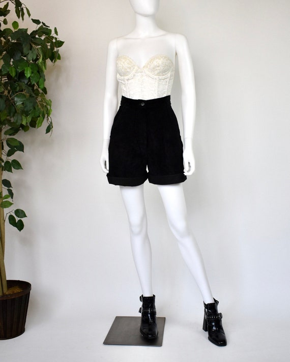 Vintage 80's Firenze Bermuda Black suede leather f