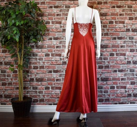 Vintage 70's Burnt umber Nylon sheer lace cut out… - image 3