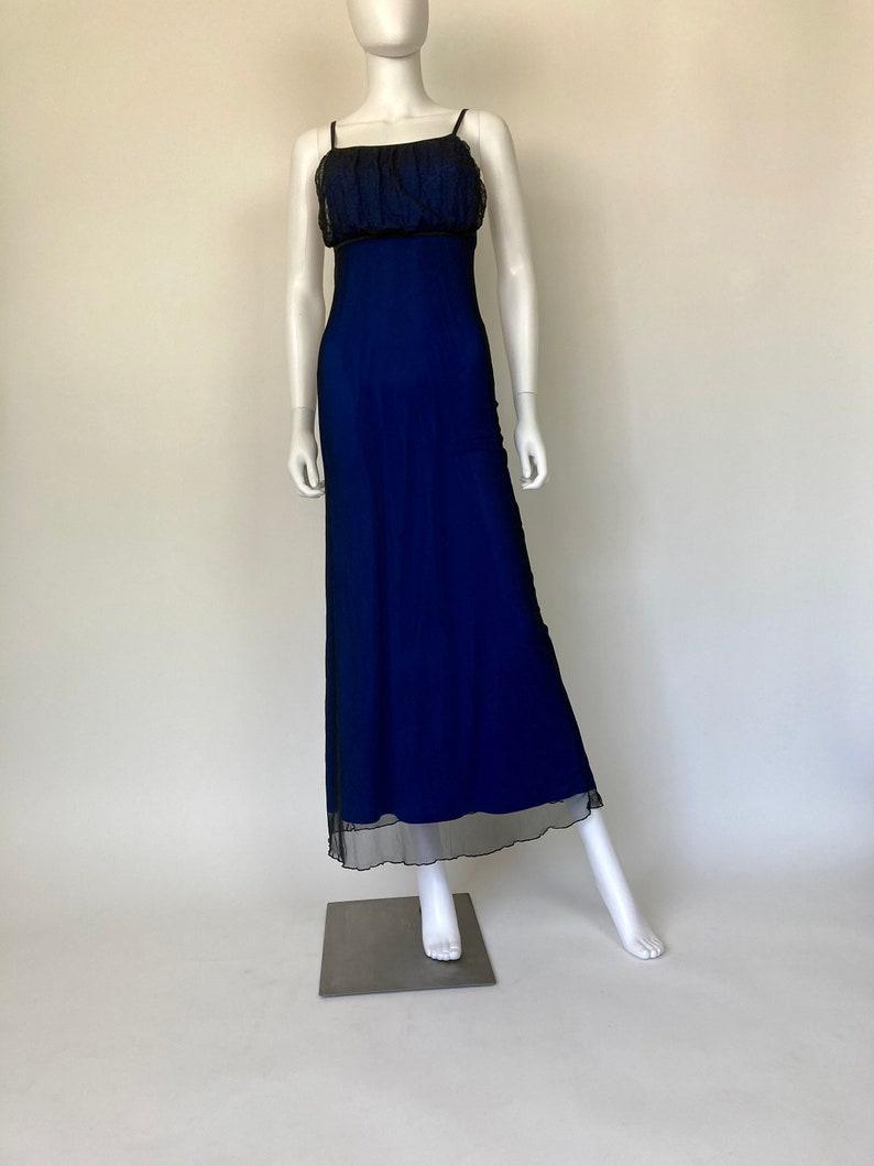 Vintage y2k black sheer mesh netting overlay blue empire slip maxi dress m