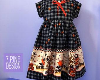 Halloween party dress #657, Handmade cotton childs dress