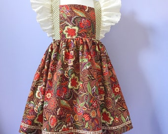 Vintage style Pinafore Dress #658 ,  Childs Pinny, One-of-a-kind cotton dress Size 6