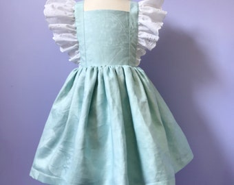 Vintage style Pinafore Dress #658 ,  Childs Pinny, One-of-a-kind cotton dress Size 4