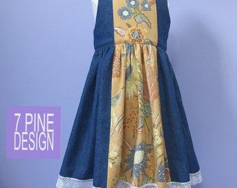 Vintage style denim dress #642, handmade childs boutique dress
