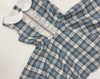 Plaid cotton school dress #648, handmade childs boutique dress