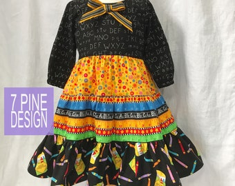 Back to School cotton dress #656 One-of-a-kind size 6