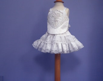 Baby Lace skirt set #504,  Infant Crop Top upcycled from a vintage wedding gown, Baby Photo Prop
