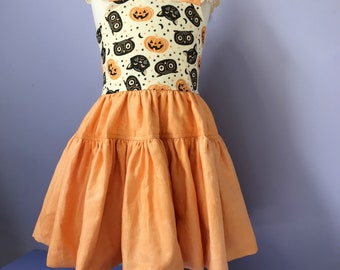 Halloween Pinafore Dress #655 ,  Childs Pinny, limited cotton dress