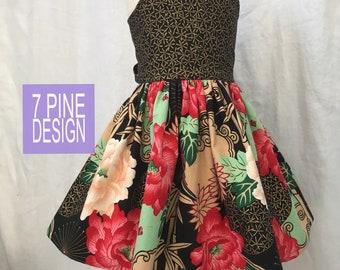Chrysanthemum  boutique cotton dress #653 handmade children's dress